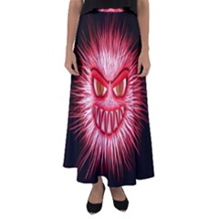 Monster Red Eyes Aggressive Fangs Flared Maxi Skirt by HermanTelo
