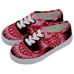 Monster Red Eyes Aggressive Fangs Kids  Classic Low Top Sneakers by HermanTelo