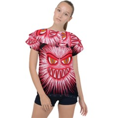 Monster Red Eyes Aggressive Fangs Ruffle Collar Chiffon Blouse by HermanTelo