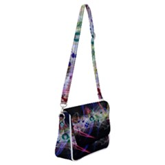 Particles Music Clef Wave Shoulder Bag With Back Zipper by HermanTelo
