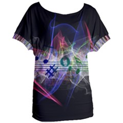Particles Music Clef Wave Women s Oversized Tee by HermanTelo