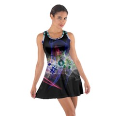 Particles Music Clef Wave Cotton Racerback Dress by HermanTelo