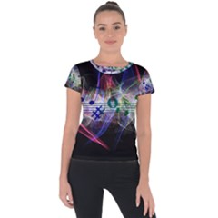 Particles Music Clef Wave Short Sleeve Sports Top  by HermanTelo
