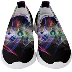 Particles Music Clef Wave Kids  Slip On Sneakers by HermanTelo
