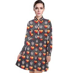 Love Heart Background Valentine Long Sleeve Chiffon Shirt Dress