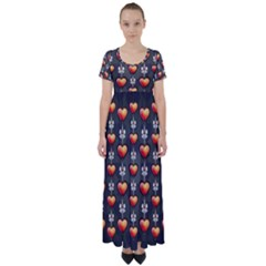 Love Heart Background Valentine High Waist Short Sleeve Maxi Dress