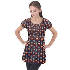Love Heart Background Valentine Puff Sleeve Tunic Top