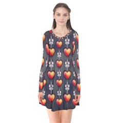 Love Heart Background Valentine Long Sleeve V Neck Flare Dress by HermanTelo