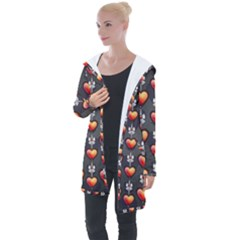 Love Heart Background Valentine Longline Hooded Cardigan