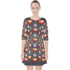 Love Heart Background Valentine Pocket Dress