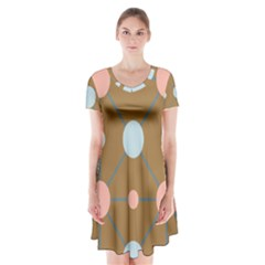 Planets Planet Around Rounds Short Sleeve V Neck Flare Dress by HermanTelo