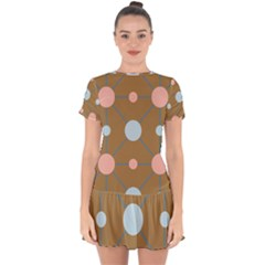 Planets Planet Around Rounds Drop Hem Mini Chiffon Dress