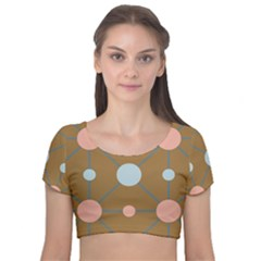 Planets Planet Around Rounds Velvet Short Sleeve Crop Top