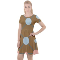 Planets Planet Around Rounds Cap Sleeve Velour Dress