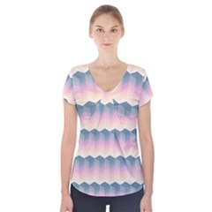Seamless Pattern Background Block Pink Short Sleeve Front Detail Top