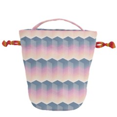 Seamless Pattern Background Block Pink Drawstring Bucket Bag