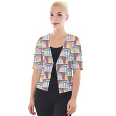 Seamless Pattern Background Abstract Cropped Button Cardigan