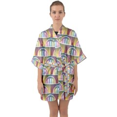 Seamless Pattern Background Abstract Quarter Sleeve Kimono Robe by HermanTelo