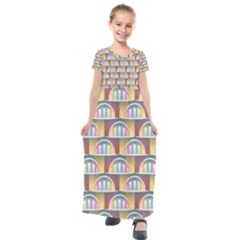 Seamless Pattern Background Abstract Kids  Short Sleeve Maxi Dress by HermanTelo