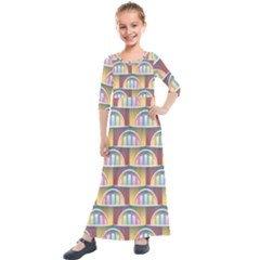 Seamless Pattern Background Abstract Kids  Quarter Sleeve Maxi Dress by HermanTelo