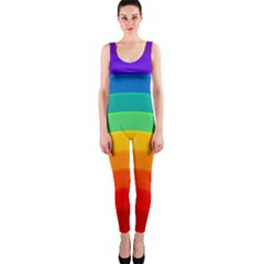 Rainbow Background Colorful One Piece Catsuit by HermanTelo