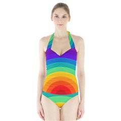 Rainbow Background Colorful Halter Swimsuit by HermanTelo