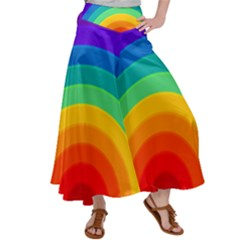 Rainbow Background Colorful Satin Palazzo Pants by HermanTelo