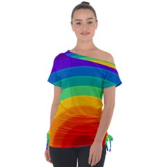Rainbow Background Colorful Tie Up Tee by HermanTelo