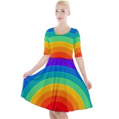 Rainbow Background Colorful Quarter Sleeve A-line Dress