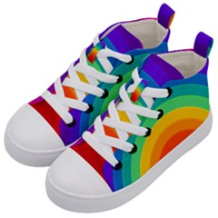 Rainbow Background Colorful Kids  Mid-top Canvas Sneakers by HermanTelo