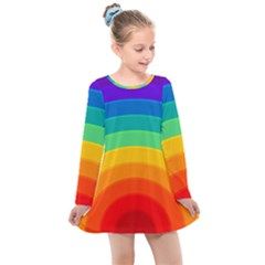 Rainbow Background Colorful Kids  Long Sleeve Dress by HermanTelo