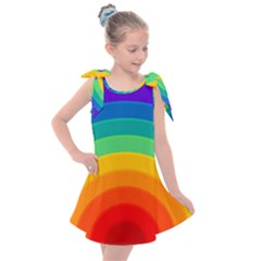 Rainbow Background Colorful Kids  Tie Up Tunic Dress by HermanTelo