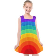 Rainbow Background Colorful Kids  Cross Back Dress by HermanTelo