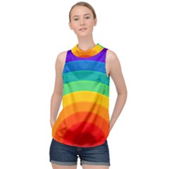 Rainbow Background Colorful High Neck Satin Top by HermanTelo