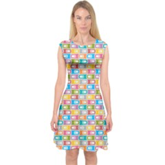 Seamless Pattern Background Abstract Rainbow Capsleeve Midi Dress