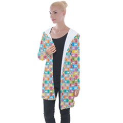 Seamless Pattern Background Abstract Rainbow Longline Hooded Cardigan by HermanTelo