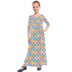 Seamless Pattern Background Abstract Rainbow Kids  Quarter Sleeve Maxi Dress by HermanTelo