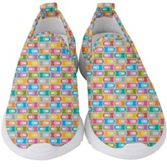 Seamless Pattern Background Abstract Rainbow Kids  Slip On Sneakers by HermanTelo