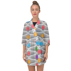 Seamless Pattern Background Abstract Circle Half Sleeve Chiffon Kimono