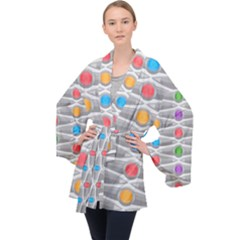 Seamless Pattern Background Abstract Circle Velvet Kimono Robe
