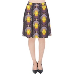 Pattern Background Yellow Bright Velvet High Waist Skirt by HermanTelo