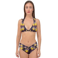 Pattern Background Yellow Bright Double Strap Halter Bikini Set by HermanTelo