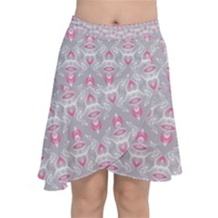 Seamless Pattern Background Chiffon Wrap Front Skirt