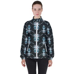 Seamless Pattern Background Black Women s High Neck Windbreaker