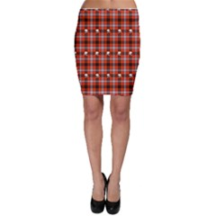 Plaid Pattern Red Squares Skull Bodycon Skirt