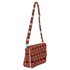 Plaid Pattern Red Squares Skull Shoulder Bag With Back Zipper by HermanTelo