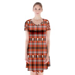 Plaid Pattern Red Squares Skull Short Sleeve V Neck Flare Dress by HermanTelo