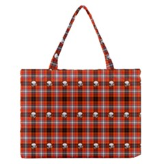 Plaid Pattern Red Squares Skull Zipper Medium Tote Bag