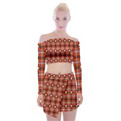Plaid Pattern Red Squares Skull Off Shoulder Top With Mini Skirt Set