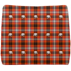 Plaid Pattern Red Squares Skull Seat Cushion by HermanTelo